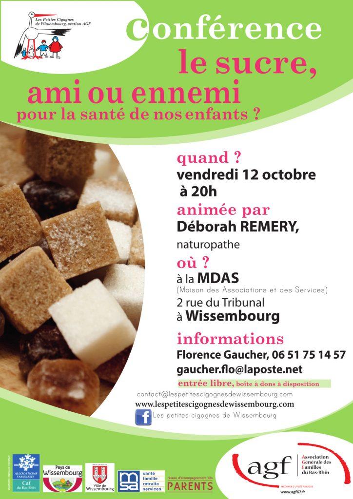 Affiche conférence : le sucre, ami ou ennemi pour la santé de nos enfants ?