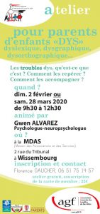"""Atelier pour parents d'enfants """"DYS"""" @ Maison des Associations et des Services"""